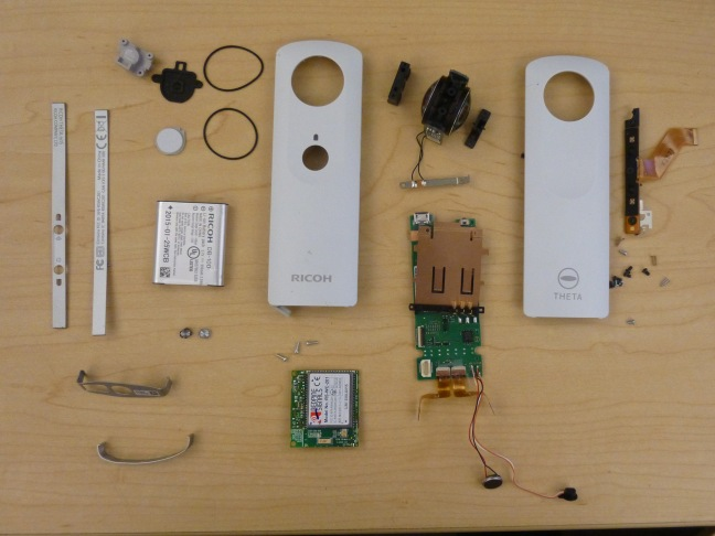 Disassembled Ricoh Theta Panorama Camera.